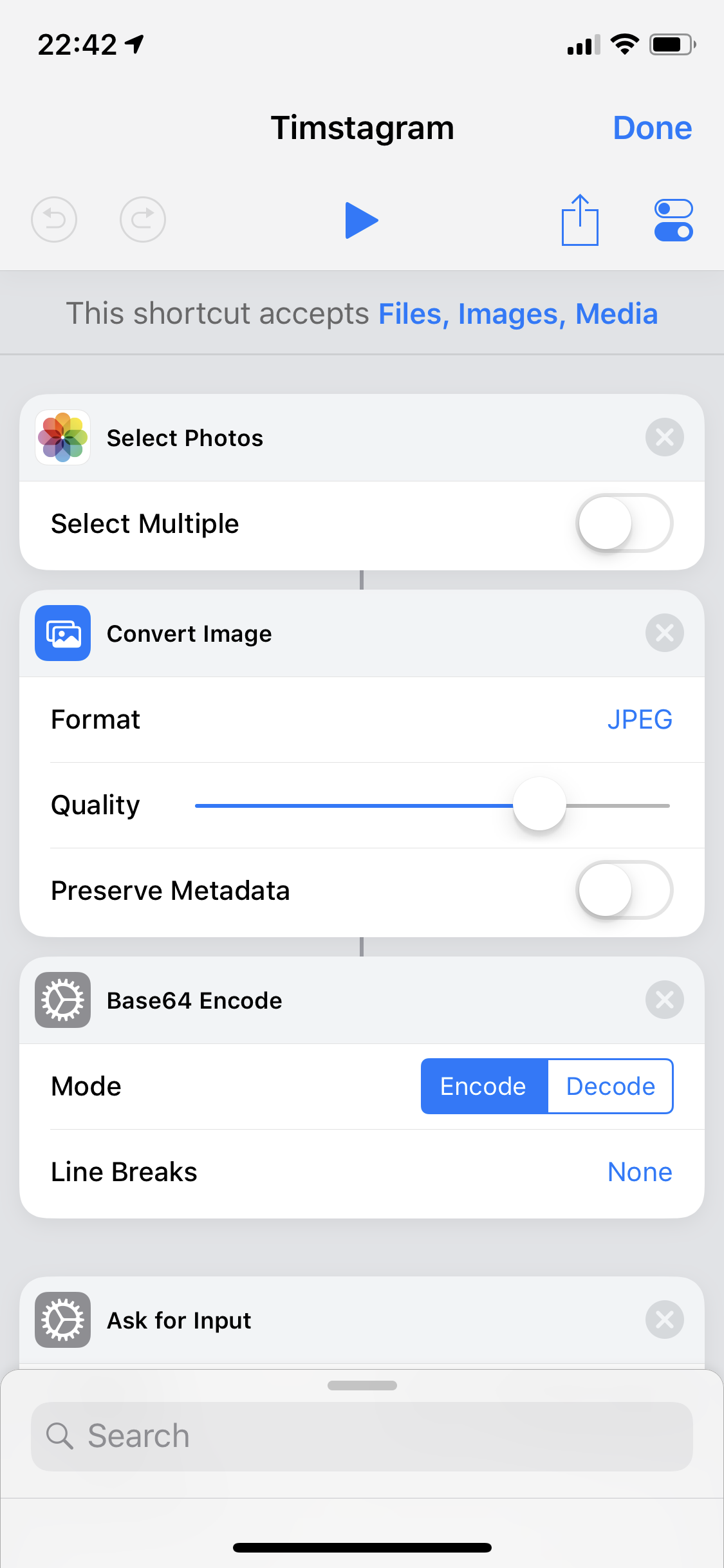 iOS Shortcut Configuration 1